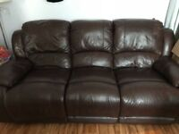 Brown leather recliner Sofa and Chair