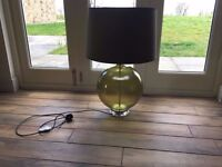 Stunning Green glass lamp with grey lampshade - Excellent condition £30.00