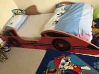Children's single wooden car bed