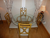 Glass gold dining room chair and 4 chairs