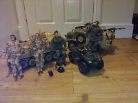 HM Armed Forces Figures, Scimiter Tank, Jackal armoured car, Quad bike, & parachutists