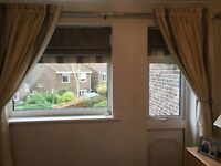 Pure silk fully lined blind in grey and cream.