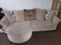 Beige/oatmeal sofa, cuddle couch and footstool/storage