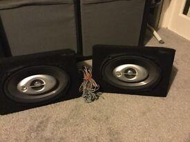 Pair of Kenwood KFC-6960ie 300W 6x9 car speakers in boxes