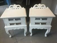 Pair of heavy, quality bedside tables french country shabby chic