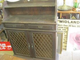 VINTAGE ORNATE LEADED GLAZED TWIN CABINET DOORS. SHELVES INSIDE. VIEWING/DELIVERY AVAILABLE