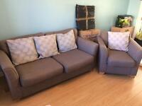 Grey 3 seater sofa + armchair