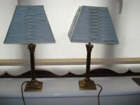 Laura Ashley brass lamps, shades and cushions