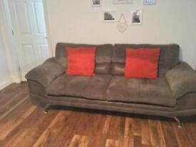 Grey cord sofa & chair