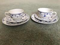 Set of vintage Masons blue Denmark Teacups and Saucers