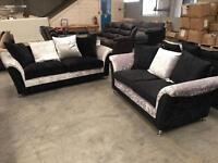 Brand new 3 + 2 crushed velvet sofa suite