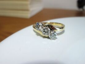 18ct Yellow Gold .75ct Round Brilliant Diamond Trilogy Engagement Ring Size L