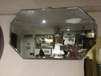 Fine Vintage Art Deco Frameless Bevelled Edge Wall Mirror