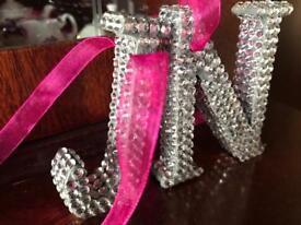 Diamanté wooden letters.