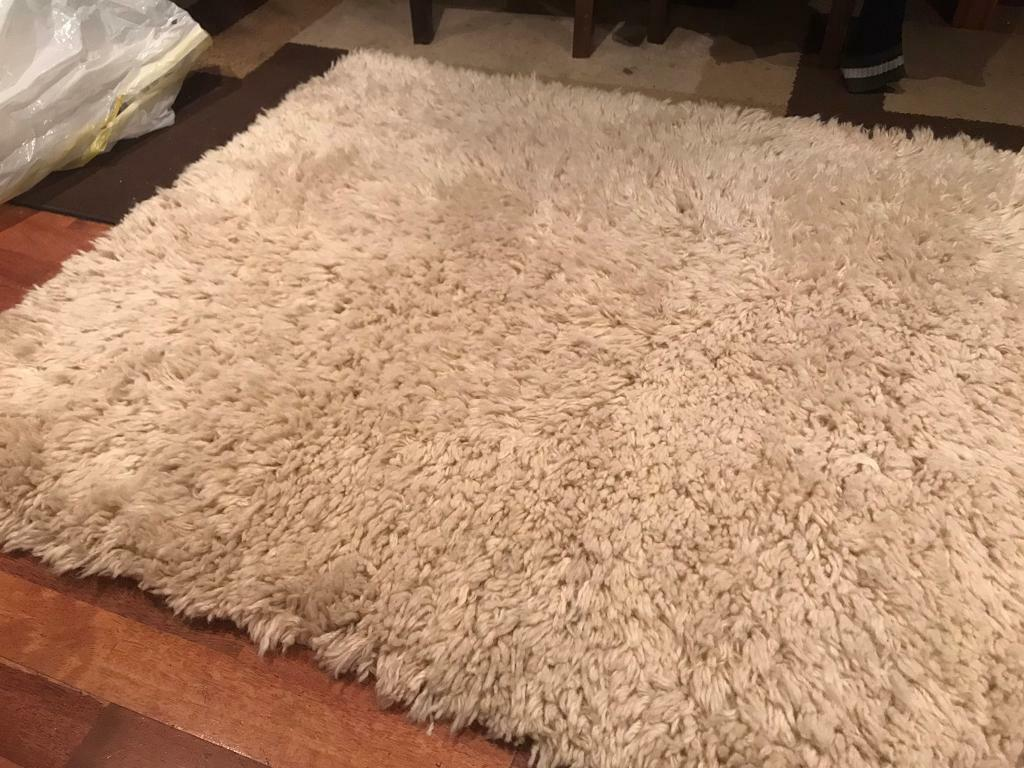 Next Cream Rug 100 Sheep Wool In