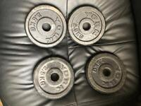 Cast iron 10kg discs 4 x 2.5kg weight dumbbells plates barbel gym - Southend on sea