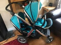 Oyster Max tandem with car seat oyster ride on and height adaptors