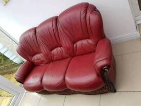 Leather settee and chairs set