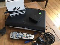Sky+HD box, router and wireless connector