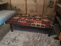 handmade aghan kilim footstool coffee table ottoman on antique legs by master upholsterer in surrey