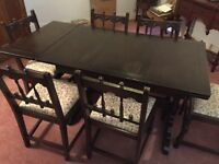 Ercol dining room table and six chairs