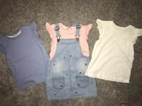 Dungaree dress and t-shirts