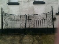 SET OF VINTAGE WROUGHT IRON DRIVE GATES- NEWLY PAINTED