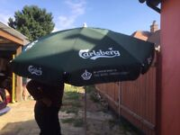 Carlsberg pub table umbrellas. New.