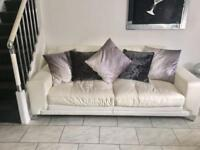 White leather 3 seater sofa 87 inches length x 38 inches wide