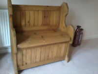 Handcrafted Rustic Pine Pew/Storage Bench