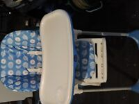 Chicco Polly height adjustable high chair. Seat blue