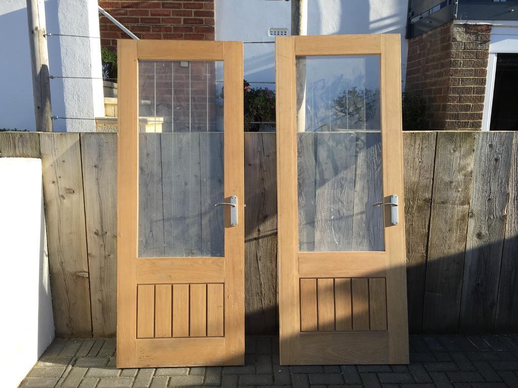 Two Oak Veneer Glazed Internal Doors Cottage Dordogne