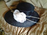 navy and cream wedding hat