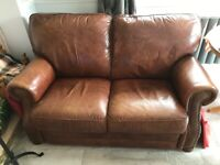 2 x leather settees and 2 x leather pouffes