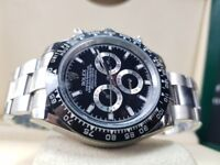 New boxed with papers silver bracelet black dial black ceramic bezel Rolex Daytona watch Automatic