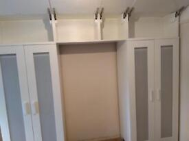 Wardrobes ikea aneboda with over cupboards