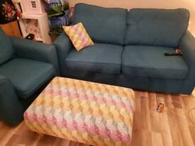 Teal Drs 3 seater, chair and large footstool
