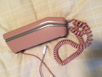 PINK with grey buttons old style, corded landline telephone ..... only £ 3