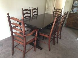 Dining Table with four chairs and two Carver chairs