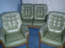 ERCOL SAVILLE LEATHER 3 Piece Suite - 2 Seater Sofa, 2 Armchair Pale Green Button Back