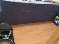 Single blue divan bed and mattress