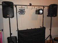 Full DJ Rig for sale. Speakers, Stands, Rig with Light bar, 6 Lights, Light curtain, Fazer & Wires.