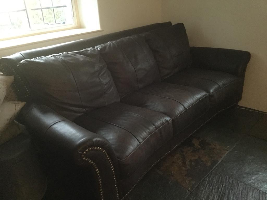 Two three seater charcoal grey leather sofas | in Wells, Somerset ...