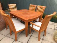 Solid Wood Heavy Weight Dining Room Table and 6 Chairs (Up-cycling Project) TLC Required