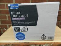 21 boxes of wall tiles white and 5 boxes light blue Brick bevelled. All new boxed