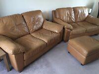 2 Seater x 2 Tan Leather