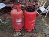 2 x Empty Propane Gas Cylinders. 18kg & 19kg