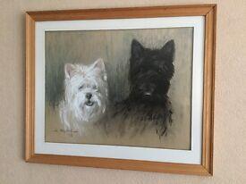 Original pastel picture of Scottie and West Highland Terrier