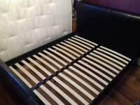 Kingsize black faux leather bed frame