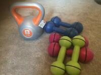 Weights and kettle bell